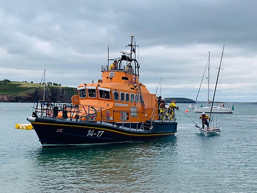The skiff dinghy is taken in tow by the RNLI lifeboat back to Dunmore East Harbour