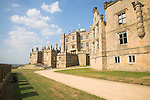 Bolsover Castle, Derbyshire, England with Little Castle to the left built by Sir Charles Cavendish in 1612 and part of the Terrace Range walls in the foreground.