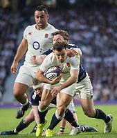 Twickenham, United Kingdom. Danny CARE Breaks through to score during the Six Nations International Rugby, Calcutta Cup Game, England vs Scotland, RFU Stadium, Twickenham, England, <br /> <br /> Saturday  11/03/2017<br /> <br /> [Mandatory Credit; Peter Spurrier/Intersport-images]