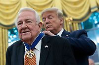 United States President Donald J. Trump presents the Presidential Medal of Freedom to former US Attorney General Edwin Meese at the White House in Washington, DC, October 8, 2019. Meese served from 1985 to 1988 under US President Ronald Reagan. Credit: Chris Kleponis / Pool via CNP /MediaPunch