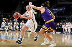 SIOUX FALLS, SD - MARCH 8: Keni Jo Lippe #33 of the Oral Roberts Golden Eagles drives to the basket against Carla Flores #0 of the Western Illinois Leathernecks at the 2020 Summit League Basketball Championship in Sioux Falls, SD. (Photo by Dave Eggen/Inertia)