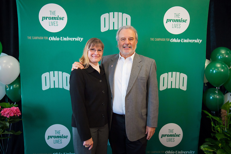 A $2 million commitment from Goll-Ohio Eminent Scholar and Distinguished Professor of molecular and cellular biology John Kopchick and his wife Char, assistant dean of students for campus involvement help The Promise Lives campaign to reach its goal of $450 million 14 months before the deadline..  Photo by Ohio University / Jonathan Adams