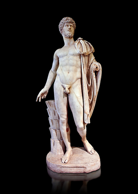 Roman marble sculpture bust of Lucius Verus with the body of Diomedes, Cuma Munich Type, 160-170 AD, inv 6095 Farnese Collection, Naples Museum of Archaeology, Italy