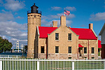 The Old Mackinaw Point Lighthouse At The Straits Of Mackinaw, Michigan's Lower Peninsula, USA