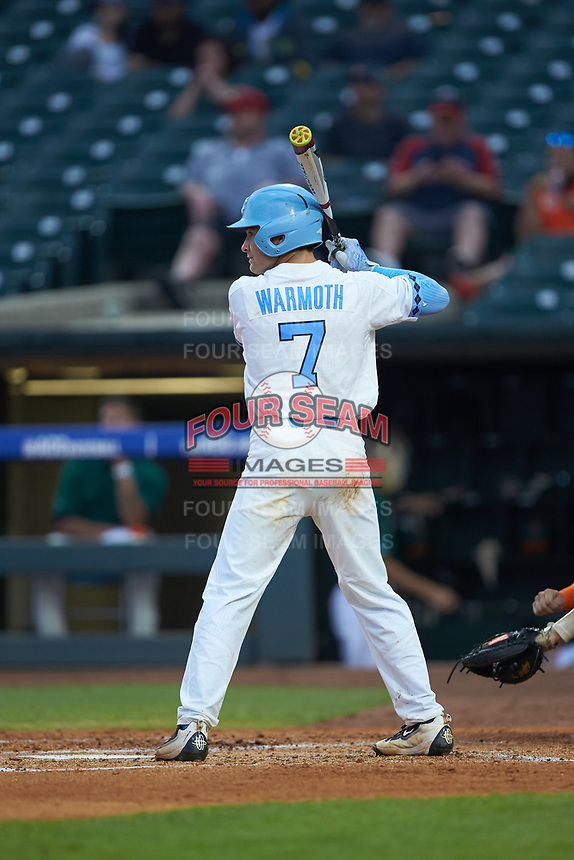 Logan Warmoth (7) of the North Carolina Tar Heels at bat against the Miami Hurricanes in the second semifinal of the 2017 ACC Baseball Championship at Louisville Slugger Field on May 27, 2017 in Louisville, Kentucky. The Tar Heels defeated the Hurricanes 12-4. (Brian Westerholt/Four Seam Images)