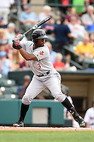 Indianapolis Indians outfielder Mel Rojas (3) at bat during a game against the Rochester Red Wings on July 26, 2014 at Frontier Field in Rochester, New  York.  Rochester defeated Indianapolis 1-0.  (Mike Janes/Four Seam Images)