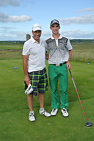 Jack Howard (Fota Island) and his caddy on the 13th tee during Round 2 of The South of Ireland in Lahinch Golf Club on Sunday 27th July 2014.<br /> Picture:  Thos Caffrey / www.golffile.ie