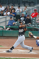Visalia Rawhide second baseman Jamie Westbrook (6) at bat during a game against the Stockton Ports at Banner Island Ballpark on August 15, 2015 in Stockton, California. Visalia defeated Stockton 9-1. (Robert Gurganus/Four Seam Images)