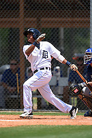 GCL Tigers shortstop David Gonzalez (13) at bat during a game against the GCL Blue Jays on June 30, 2014 at Tigertown in Lakeland, Florida.  GCL Blue Jays defeated the GCL Tigers 3-1.  (Mike Janes/Four Seam Images)
