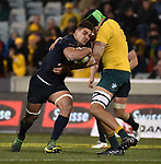 Pumas player  Pablo Matera (L) is tackled by Wallabies player  Adam Coleman (R) during the Rugby Championship match between Australia and Argentina in Canberra on September 16, 2017. AFP PHOTO / MARK GRAHAM --- IMAGE RESTRICTED TO EDITORIAL USE - STRICTLY NO COMMERCIAL USE --
