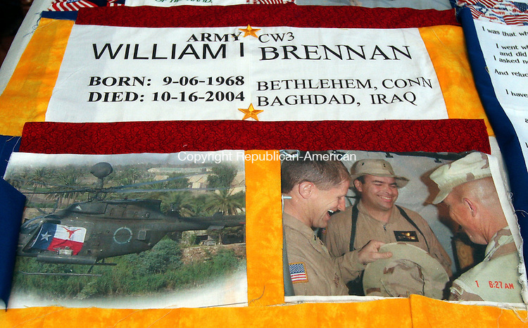 WOODBURY, CT-15November 2006-111506TK07- Briana Wall who lost her brother, Brent, in Iraq two years ago has created a quilt panel in her brothers memory to be shipped overseas to be shipped overseas to Iraq.  Tom Kabelka Republican-American (Briana Wall)