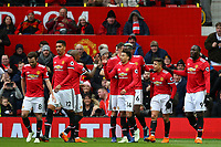 Manchester United players celebrate the second goal scored by Alexis Sanchez during the Premier League match between Manchester United and Swansea City at the Old Trafford, Manchester, England, UK. Saturday 31 March 2018