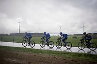 Team Deceuninck - Quick Step taking control over the front of the peloton<br /> <br /> 105th Liège-Bastogne-Liège 2019 (1.UWT)<br /> One day race from Liège to Liège (256km)<br /> <br /> ©kramon