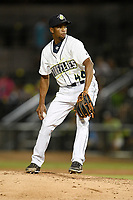 Pitcher Willy Taveras (40) of the Columbia Fireflies delivers a pitch in a game against the Rome Braves on Saturday, August 17, 2019, at Segra Park in Columbia, South Carolina. Rome won, 4-0. (Tom Priddy/Four Seam Images)