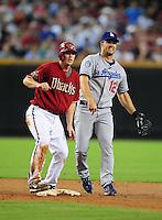 Jul 20, 2008; Phoenix, AZ, USA; Los Angeles Dodgers second baseman (12) Jeff Kent and Arizona Diamondbacks base runner Stephen Drew at Chase Field. Mandatory Credit: Mark J. Rebilas-