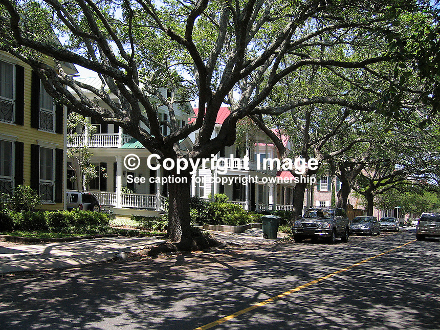 Tree-lined avenue of typical houses in Charleston, South Carolina, USA. 200705140052...Copyright Image from Victor Patterson, 54 Dorchester Park, Belfast, UK, BT9 6RJ..Tel: +44 28 9066 1296.Mob: +44 7802 353836.Voicemail +44 20 8816 7153.Skype: victorpattersonbelfast.Email: victorpatterson@mac.com.Email: victorpatterson@ireland.com (back-up)..IMPORTANT: If you wish to use this image or any other of my images please go to www.victorpatterson.com and click on the Terms & Conditions. Then contact me by email or phone with the reference number(s) of the image(s) concerned.