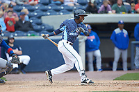 Alexis Garcia (7) of the West Michigan Whitecaps follows through on his swing against the South Bend Cubs at Fifth Third Ballpark on June 10, 2018 in Comstock Park, Michigan. The Cubs defeated the Whitecaps 5-4.  (Brian Westerholt/Four Seam Images)