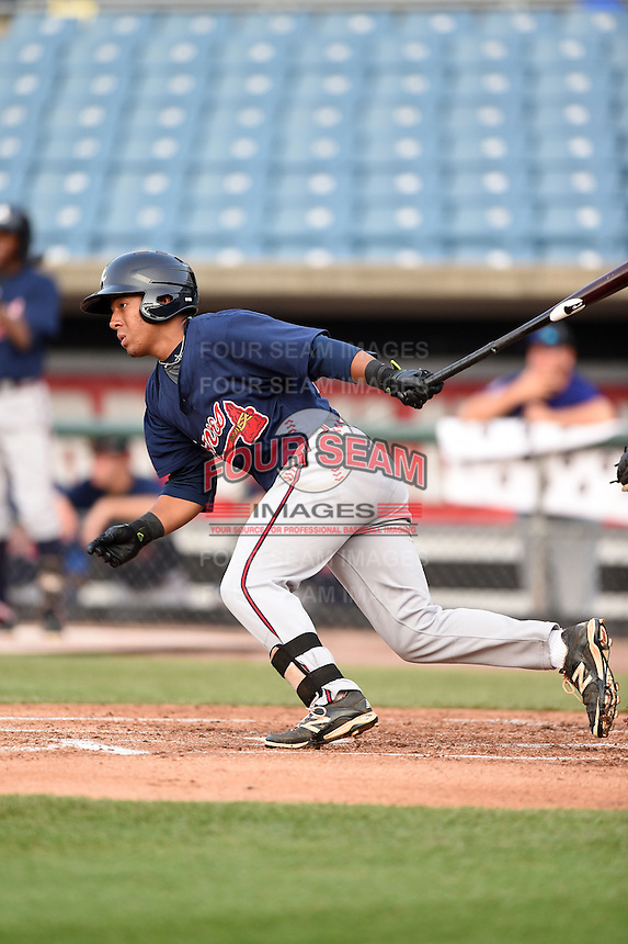 Jahmai Jones (22) of Wesleyan School in Roswell, Georgia playing for the Atlanta Braves scout team during the East Coast Pro Showcase on August 1, 2014 at NBT Bank Stadium in Syracuse, New York.  (Mike Janes/Four Seam Images)