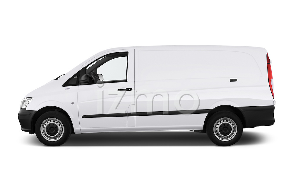 Car Driver side profile view of a 2013 Mercedes Benz Vito 113CDi SWB Long 4 Door Cargo Van 2WD Side View