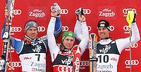 ZAGREB, CROACIA, 06 JANEIRO 2013 - COPA DO MUNDO DE ESQUI ALPINO - O competidor Marcel Hirscher (C) da Austria vencedor da prova de Slalom Gigante para homens durante a Copa do Mundo de Esqui Alpino em Zagreb na Croacia, neste domingo, 06/01/2013. (FOTO: PIXATHLON / BRAZIL PHOTO PRESS).