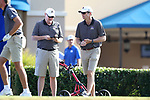 DURHAM, NC - SEPTEMBER 17: East Carolina head coach Andrew Sapp (right) with assistant coach Dan Ruyle (left). The third round of the Rod Myers Invitational Men's Golf Tournament was held on September 17, 2017, at the Duke University Golf Club in Durham, NC.