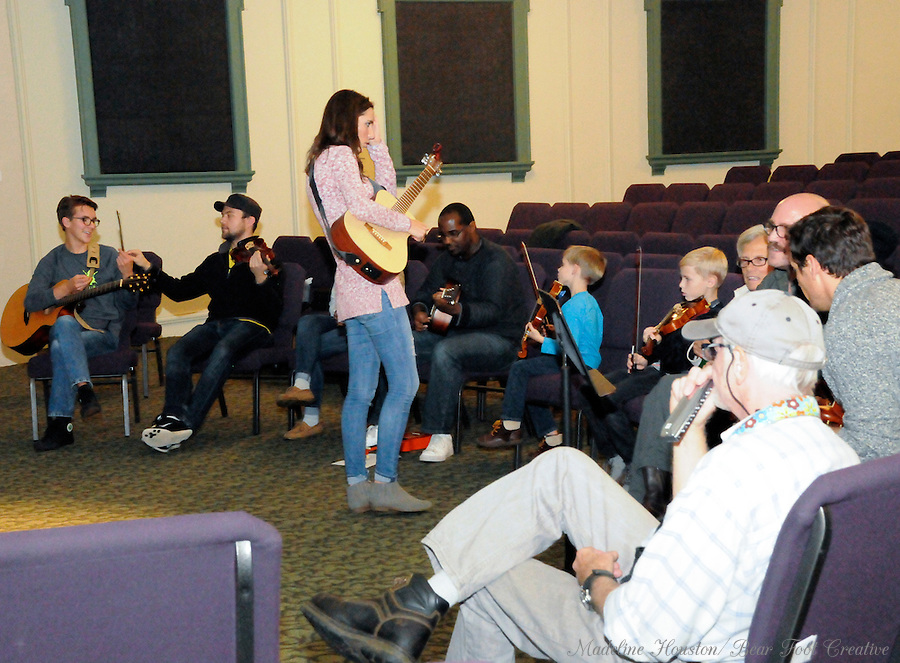 The Bethel School of the Arts holds a jam session during Centralia, Washington's Third Thursday on October 20, 2016.