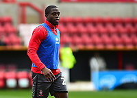 Lincoln City's John Akinde during the pre-match warm-up<br /> <br /> Photographer Andrew Vaughan/CameraSport<br /> <br /> The EFL Sky Bet League Two - Swindon Town v Lincoln City - Saturday 12th January 2019 - County Ground - Swindon<br /> <br /> World Copyright &copy; 2019 CameraSport. All rights reserved. 43 Linden Ave. Countesthorpe. Leicester. England. LE8 5PG - Tel: +44 (0) 116 277 4147 - admin@camerasport.com - www.camerasport.com