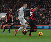 Bournemouth's Joshua King (right) under pressure from Liverpool's Fabinho (left) <br /> <br /> Photographer David Horton/CameraSport<br /> <br /> The Premier League - Bournemouth v Liverpool - Saturday 8th December 2018 - Vitality Stadium - Bournemouth<br /> <br /> World Copyright © 2018 CameraSport. All rights reserved. 43 Linden Ave. Countesthorpe. Leicester. England. LE8 5PG - Tel: +44 (0) 116 277 4147 - admin@camerasport.com - www.camerasport.com