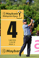 Pablo Larrazabal (ESP) on the 4th tee during Round 3 of the Maybank Malaysian Open at the Kuala Lumpur Golf & Country Club on Saturday 7th February 2015.<br /> Picture:  Thos Caffrey / www.golffile.ie