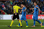 Getafe CF's Vitorino Antunes have words with the referee during La Liga match between Getafe CF and Valencia CF at Coliseum Alfonso Perez in Getafe, Spain. November 10, 2018.