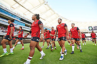 The Warriors leave the arena after warm-up, Rabbitohs v Vodafone Warriors, NRL rugby league premiership. Optus Stadium, Perth, Western Australia. 10 March 2018. Copyright Image: Daniel Carson / www.photosport.nz