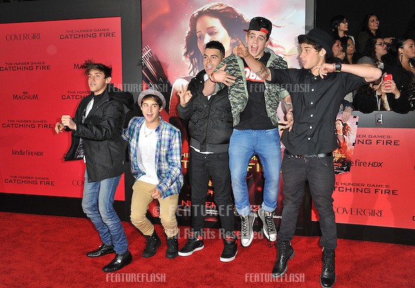 The Janoskians at the US premiere of &quot;The Hunger Games: Catching Fire&quot; at the Nokia Theatre LA Live.<br /> November 18, 2013  Los Angeles, CA<br /> Picture: Paul Smith / Featureflash