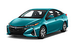 2018 Toyota Prius-Prime Plus 5 Door Hatchback Angular Front stock photos of front three quarter view
