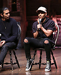 """Anthony Lee Medina and Terrance Spencer during the eduHAM Q & A before The Rockefeller Foundation and The Gilder Lehrman Institute of American History sponsored High School student #EduHam matinee performance of """"Hamilton"""" at the Richard Rodgers Theatre on October 30, 2019 in New York City."""