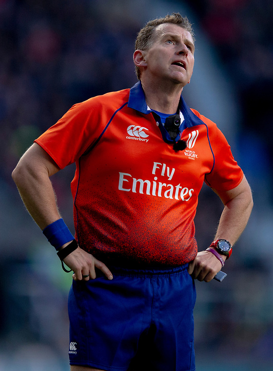 Referee Nigel Owens<br /> <br /> Photographer Bob Bradford/CameraSport<br /> <br /> Guinness Six Nations Championship - England v France - Sunday 10th February 2019 - Twickenham Stadium - London<br /> <br /> World Copyright © 2019 CameraSport. All rights reserved. 43 Linden Ave. Countesthorpe. Leicester. England. LE8 5PG - Tel: +44 (0) 116 277 4147 - admin@camerasport.com - www.camerasport.com