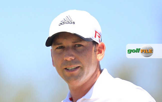 Sergio Garcia (ESP) on the 1st tee during Round 4 of the Open de Espana  in Club de Golf el Prat, Barcelona on Sunday 17th May 2015.<br /> Picture:  Thos Caffrey / www.golffile.ie