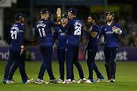 Ravi Bopara of Essex is congratulated by his team mates after taking the wicket of James Franklin during Essex Eagles vs Middlesex, NatWest T20 Blast Cricket at The Cloudfm County Ground on 11th August 2017