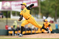 Jacksonville Suns  pitcher Edgar Olmos (26) delivers a pitch during a game against the Pensacola Blue Wahoos on April 20, 2014 at Bragan Field in Jacksonville, Florida.  Jacksonville defeated Pensacola 5-4.  (Mike Janes/Four Seam Images)