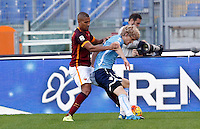 Calcio, Serie A: Roma vs Lazio. Roma, stadio Olimpico, 8 novembre 2015.<br /> Lazio's Dusan Basta. right, is challenged by Roma's William Vainqueur during the Italian Serie A football match between Roma and Lazio at Rome's Olympic stadium, 8 November 2015.<br /> UPDATE IMAGES PRESS/Riccardo De Luca
