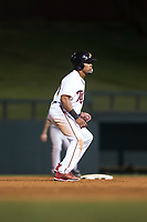Salt River Rafters left fielder Jaylin Davis (30), of the Minnesota Twins organization, takes a lead off second base during an Arizona Fall League game against the Scottsdale Scorpions at Salt River Fields at Talking Stick on October 11, 2018 in Scottsdale, Arizona. Salt River defeated Scottsdale 7-6. (Zachary Lucy/Four Seam Images)