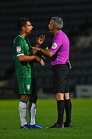 Sheffield Wednesday's Joey Pelupessy has his name put in the referee's book<br /> <br /> Photographer Dave Howarth/CameraSport<br /> <br /> Carabao Cup Second Round Northern Section - Rochdale v Sheffield Wednesday - Tuesday 15th September 2020 - Spotland Stadium - Rochdale<br />  <br /> World Copyright © 2020 CameraSport. All rights reserved. 43 Linden Ave. Countesthorpe. Leicester. England. LE8 5PG - Tel: +44 (0) 116 277 4147 - admin@camerasport.com - www.camerasport.com
