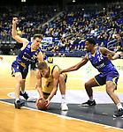12.02.2019, Mercedes Benz Arena, Berlin, GER, ALBA ERLIN vs.  Basketball Loewen Braunschweig, <br /> im Bild Tim Schneider (ALBA Berlin #10), Joe Rahon (Braunschweig #25), Shaquille Hines (Braunschweig #24)<br /> <br />      <br /> Foto &copy; nordphoto / Engler