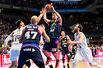 Real Madrid's players Gustavo Ayon and Sergio Rodriguez and Estudiantes's players Xavi Rey and Nicolas Laprovittola during La Liga Endesa at Barclaycard Center in Madrid, February 07, 2016<br /> (ALTERPHOTOS/BorjaB.Hojas)