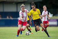Danielle Maloney of Stevenage Ladies battles Natalie Murray of Watford Ladies during the pre season friendly match between Stevenage Ladies FC and Watford Ladies at The County Ground, Letchworth Garden City, England on 16 July 2017. Photo by Andy Rowland / PRiME Media Images.