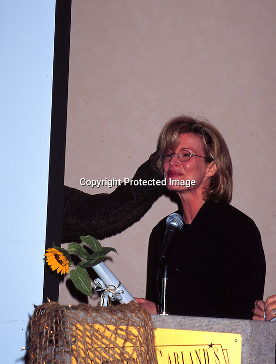 ©KATHY HUTCHINS/HUTCHINS.PAWS HUMANE ACHIEVEMENT AWARDS CEREMONY 11/13/97.KIM BASINGER RECEIVING AWARD FROM ANIMATRONIC ELEPHANT