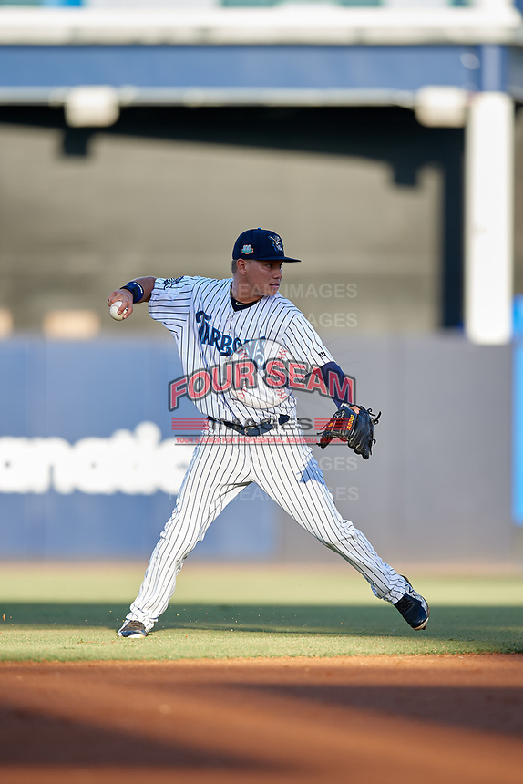 Tampa Tarpons shortstop Diego Castillo (2) throws to first base during a Florida State League game against the St. Lucie Mets on April 10, 2019 at George M. Steinbrenner Field in Tampa, Florida.  St. Lucie defeated Tampa 4-3.  (Mike Janes/Four Seam Images)