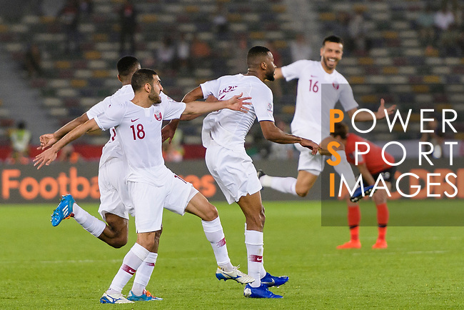 Abdel Aziz Hatim of Qatar (C) celebrates after scoring his goal with his teammates during the AFC Asian Cup UAE 2019 Quarter Finals match between Qatar (QAT) and South Korea (KOR) at Zayed Sports City Stadium  on 25 January 2019 in Abu Dhabi, United Arab Emirates. Photo by Marcio Rodrigo Machado / Power Sport Images