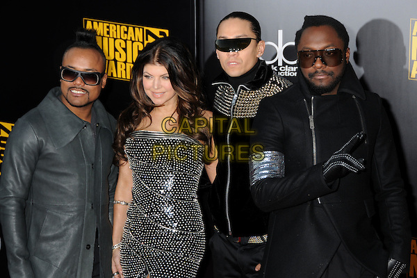 BLACK EYED PEAS - Apl.de.ap, Stacy Ferguson aka Fergie,Taboo & Will.i.am. 2009 American Music Awards - Arrivals held at the Nokia Theatre L.A. Live, Los Angeles, California, USA..November 22nd, 2009.AMA AMA's half length black eyed peas bep silver studs studded dress stacey grey gray coat jacket sunglasses shades leather .CAP/ADM/BP.©Byron Purvis/AdMedia/Capital Pictures.