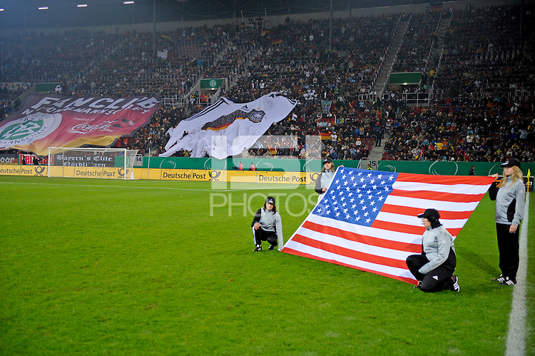 American Flag. US Women's National Team defeated Germany 1-0 at Impuls Arena in Augsburg, Germany on October 29, 2009.