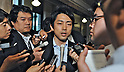 June 26, 2012, Tokyo, Japan : Member of the House of Representatives Shinjiro Koizumi speaks to Journalist after the lower house plenary session at the Parliament in Tokyo, Japan, on June 26, 2012.